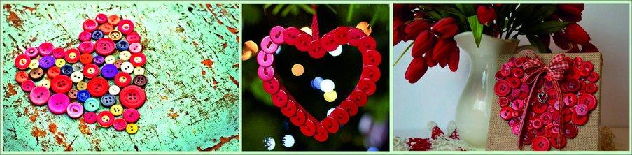 Как сделать подарок на День святого Валентина своими руками - сердце из пуговиц