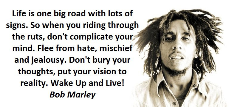 Life is one big road with lots of signs. So when you riding through the ruts, don't complicate your mind. Flee from hate, mischief and jealousy. Don't bury your thoughts, put your vision to reality. Wake Up and Live! (Bob Marley)