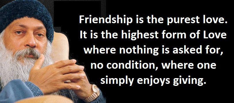 Friendship is the purest love. It is the highest form of Love where nothing is asked for, no condition, where one simply enjoys giving. - Osho on friendship
